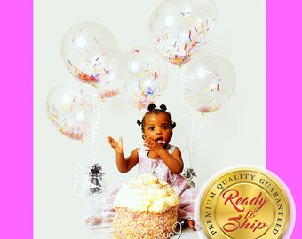 """Set of 6 Sprinkle 12"""" or 16"""" Biodegradable Clear Latex Confetti Filled Balloon / Sprinkle Birthday Decor / Sprinkle Balloon / Sprinkles"""
