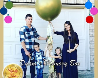 "GOLD Baby Gender Reveal Balloon / 36"" Confetti Reveal Balloon with Tassel Tail Gold Tan Tassels / Gender Reveal Party Decor"