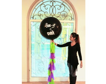 "Boo-y or Ghoul Black Gender Reveal Balloon / 36"" Confetti Filled Balloon / Halloween Gender Reveal Party / Boy or Girl?"