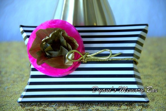White Black Striped Pillow Box Kate Spade Inspired Favor Box Black Hot Pink Gold Party Favor Box By Dyani S Memory Box Catch My Party