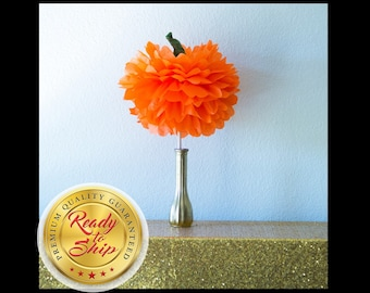 Pumpkin Tissue Pom pom Centerpiece / Orange Pumpkin Pom pom /  Thanksgiving Fall Party Decor / Pumpkin Party