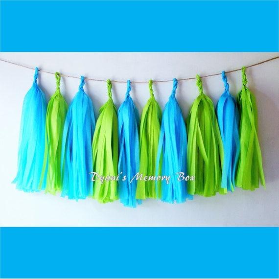 Turquoise Lime Green Handmade Tissue Tassel Garland