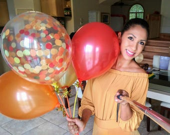 Fall Balloon Bouquet / Confetti Filled Balloon / Orange, Red, Gold Balloons / Fall Party
