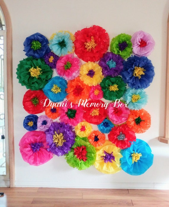 Fiesta Tissue Paper Flowers Backdrop Coco Birthday Party Decor