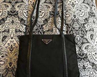 1e4d23fce566a7 Prada, vintage Vela nylon black tote with leather straps & trim, circa 1998