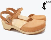 50 OFF Sandgrens Too Swedish Wooden Clogs for Women Sandgrens Clogs Saragasso Sandal Women Low Heel Shoes Leather Clogs Nude
