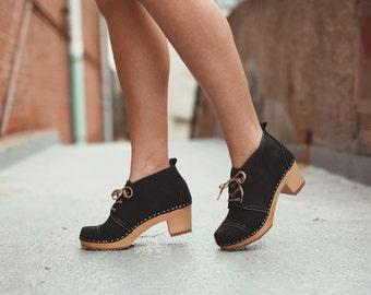 Swedish Wooden Boots for Women / Sandgrens Clogs / Chukka Cap Toe / Women High Heel / Boots Clogs / Leather Boots / Black