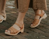 Swedish Wooden Clogs for Women Sandgrens Clogs Rio Grande Sandal Women Low Heel Shoes Leather Clog Vegetable Tanned Leather Nude