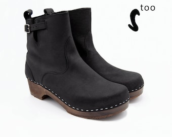 d1482cbc955d Sandgrens TOO  Leather Boots  Clogs Clog Boots Swedish Clogs Boots for Women  Low Heel Boots  Women Boots  Leather Boots Manhattan Size EU 41