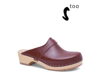 50/% OFF Sandgrens Too  Swedish Wooden Clogs for Women  Sandgrens Clogs  Athens Mules  Women Low Heel Shoes  Leather Clogs  Red