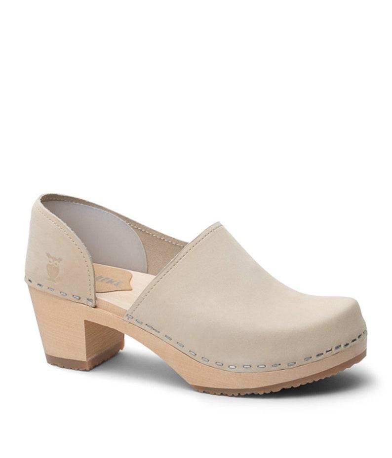 7824de6bef09a Swedish Clogs/Mid Heel Clogs/Classic Clogs/Clogs/Womens shoes/Leather  Shoes/Women's Clogs/ High Heel Clogs/Brett in Sand