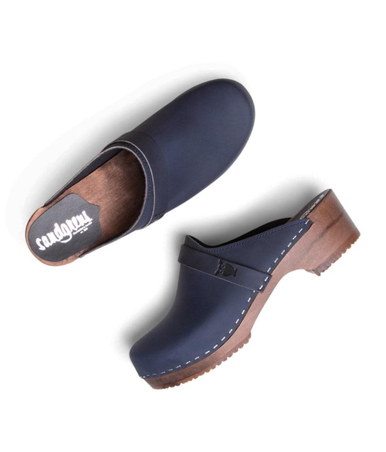 Swedish Wooden Clogs for Women  Sandgrens Clogs  Tokyo Mules  Women Low Heel Shoes  Nubuck Leather Clog  Navy  EU 35 to 45