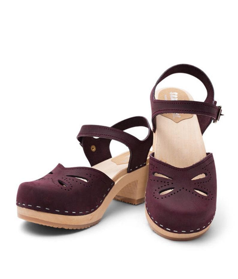 Limited Edition  Swedish Wooden Clogs for Women  Sandgrens Clogs  Copenhagen Sandal  Women High Heel Shoes  Leather Clogs  Plum EU 35