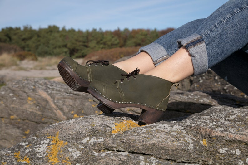 7351bded4 Swedish Clog Boots   Leather Booties   Handmade for Women