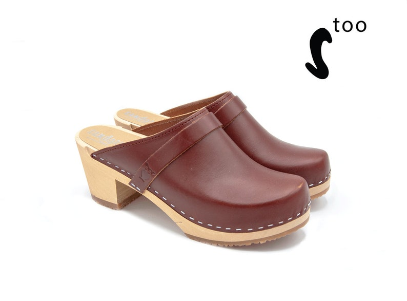 2f46b2ed24d Sandgrens TOO / Authentic Swedish Handmade Clogs/ Wood sole clog/Womens  Clogs/ Swedish Mules / high heeled Mules / Dublin EU size 39