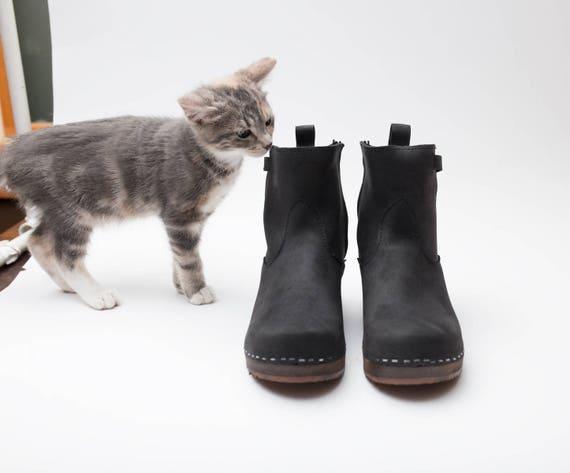 Sabot suédois bottes pour femmes en cuir cuir cuir classique bottes chausson à la main faible talon cheville bottes talon haut semelle en bois Sandgrens sabots Manhattan | Les Produits Sont Vendu Sans Limitations  2d555c