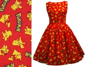 Dress Pokémon Pikachu Fabric - MEASUREMENTS REQUIRED Handmade To Measure - See full description and 2nd picture - Choice Of Styles