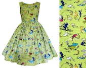 Dr Seuss Fabric Dress- One Fish Two Fish Red Fish Blue Fish - Handmade To Order MEASUREMENTS REQUIRED See full details and 2nd picture