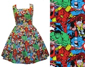 Marvel Fabric Dress - Handmade To Order MEASUREMENTS REQUIRED See full details and 2nd picture - Avengers