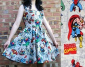 Marvel Fabric Dress - Handmade To Order Any Size MEASUREMENTS REQUIRED See full details and 2nd picture - choice of style and finish