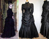 Victorian Funeral Dress Costume  - Madame Vastra -  Woman In Black - Gothic Mourning Gown Cosplay Vampire Steampunk