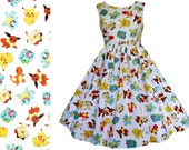 Dress Pokémon Fabric - Handmade To Measure See full description - Pikachu Bulbasaur Squirtle Pokemon