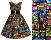 Dress Retro Horror Adverts -  Handmade To Order MEASUREMENTS REQUIRED See full details and 2nd picture