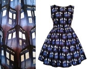 Dress Doctor Who Tardis Fabric  - Handmade To Order Any Size MEASUREMENTS REQUIRED See full details and 2nd picture