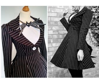 SALE - A Completed Femme Jack Skellington Nightmare Before Christmas Costume  - See full details for size etc. Alterations possible.