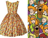 Dress Scooby Doo Fabric - Hand made To Order  . Shaggy Velma Daphne Fred Cartoon Movie