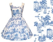 Dress Weeping Angel Tardis Doctor Who Toile de Jouy Fabric - Handmade To Order MEASUREMENTS REQUIRED See full details and 2nd picture