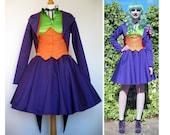 """Femme Joker Lolita Cosplay Batman - SHOP SAMPLE SALE - Jacket, Skirt and Corset Costume fits 27"""" - 29"""" waist"""