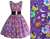 Nightmare Before Christmas Fabric Dress NBC - Handmade To Order Any Size - Disney Bound Jack Sally Lock Shock & Barrel Oogie Boogie dress