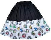 Skirt - Batman Villains DC Comics  Fabric Border - Handmade - Harley Quinn Poison Ivy Joker Catwoman Lex Luther Mr Freeze Cheetah Penguin