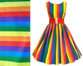 Rainbow Dress - LGBTQ Pride Flag - Handmade To Order, Any Size - Bright Stripe 100% Cotton Fabric