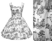 Dress Weeping Angel Tardis Doctor Who GREY Toile de Jouy Fabric  - Handmade To Order See full details and 2nd picture