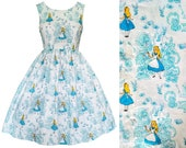 Dress - Alice In Wonderland - Hand made To Order Any Size- Disney Bound Cartoon Retro Cute