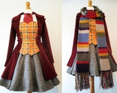 Femme Doctor Who Cosplay Based On The Fourth Dr - Hand Made To Order - Coat, Bodice, Skirt, Cravat  - Payment Plans