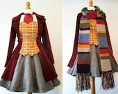 Femme Doctor Who Cosplay Based On The Fourth Dr Tom Baker 4th Doctor - Hand Made - Coat, Bodice, Skirt, Cravat