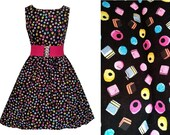 Liquorice Allsorts Dress - Handmade To Order OOAK - MEASUREMENTS REQUIRED  - sweets, candy, cute - belt not included