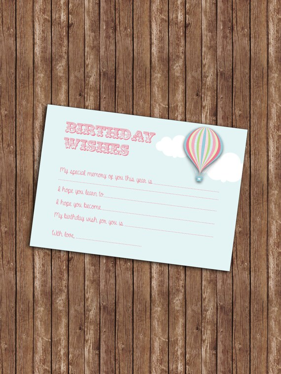 Hot Air Balloon Birthday Wishes Card