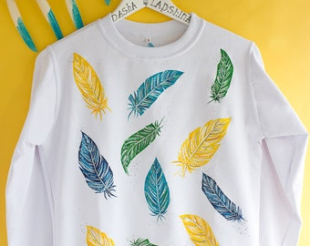 Hand painted White and Colorful Boho Women Sweatshirt: Magic Feathers #2