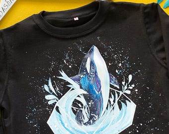 Hand painted Black Sweatshirt Ocean inside - whale. Size S is ready to ship.
