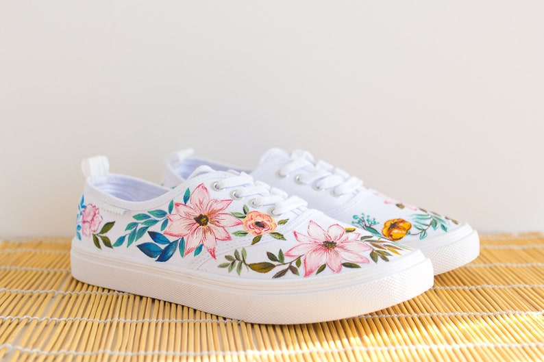70ef250220a Hand painted Women Floral Canvas Shoes white sneakers with