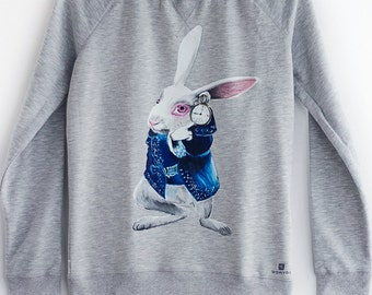 Hand painted Sweatshirt, Alice in Wonderland clothing, Women Sweatshirt, The White Rabbit sweatshirt,  Lewis Carroll fan: The White Rabbit