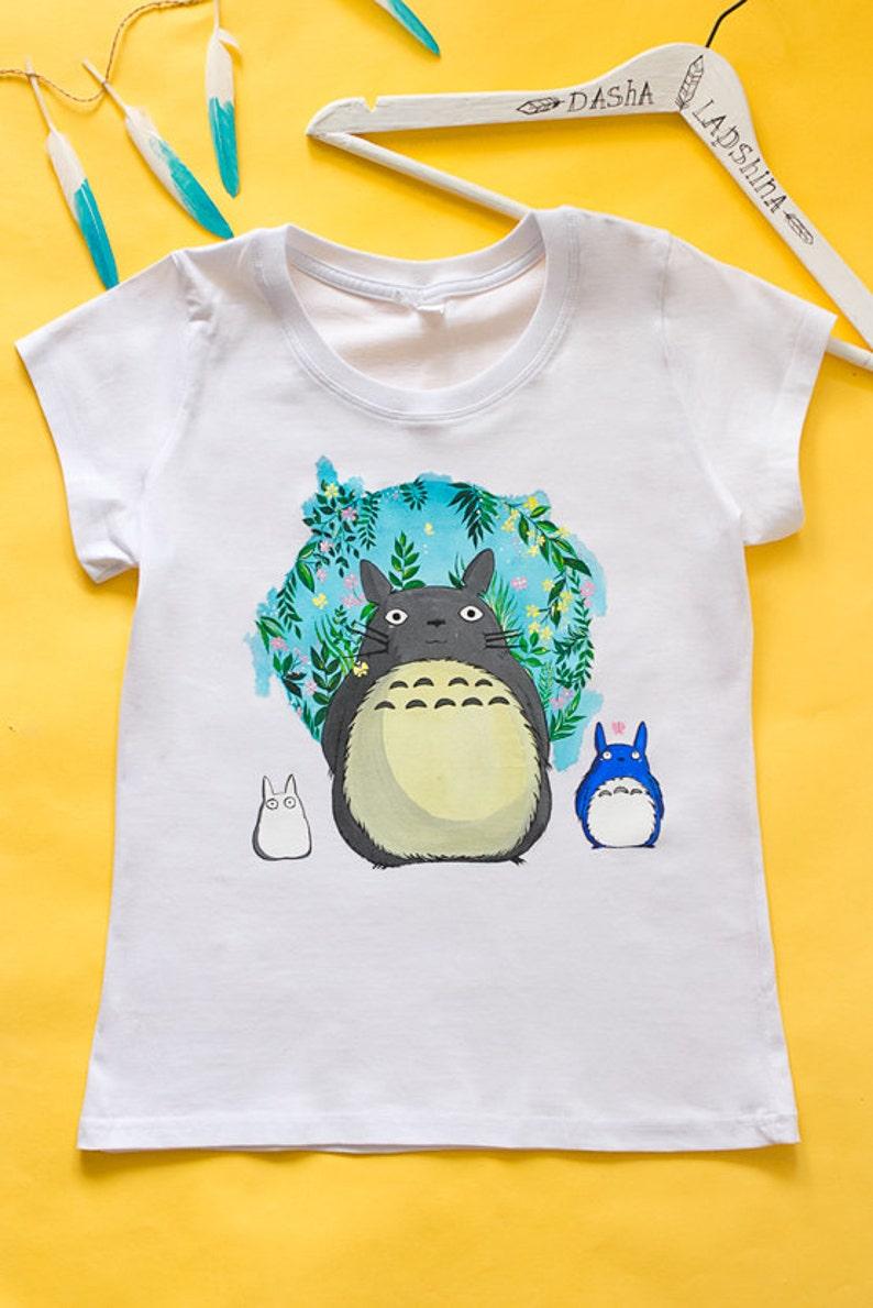 Hand painted Totoro T-shirt women white tshirt My Neighbor ...