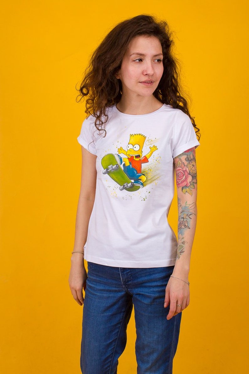 Hand Painted The Simpsons T Shirt Bart Simpson T Shirt Women Etsy