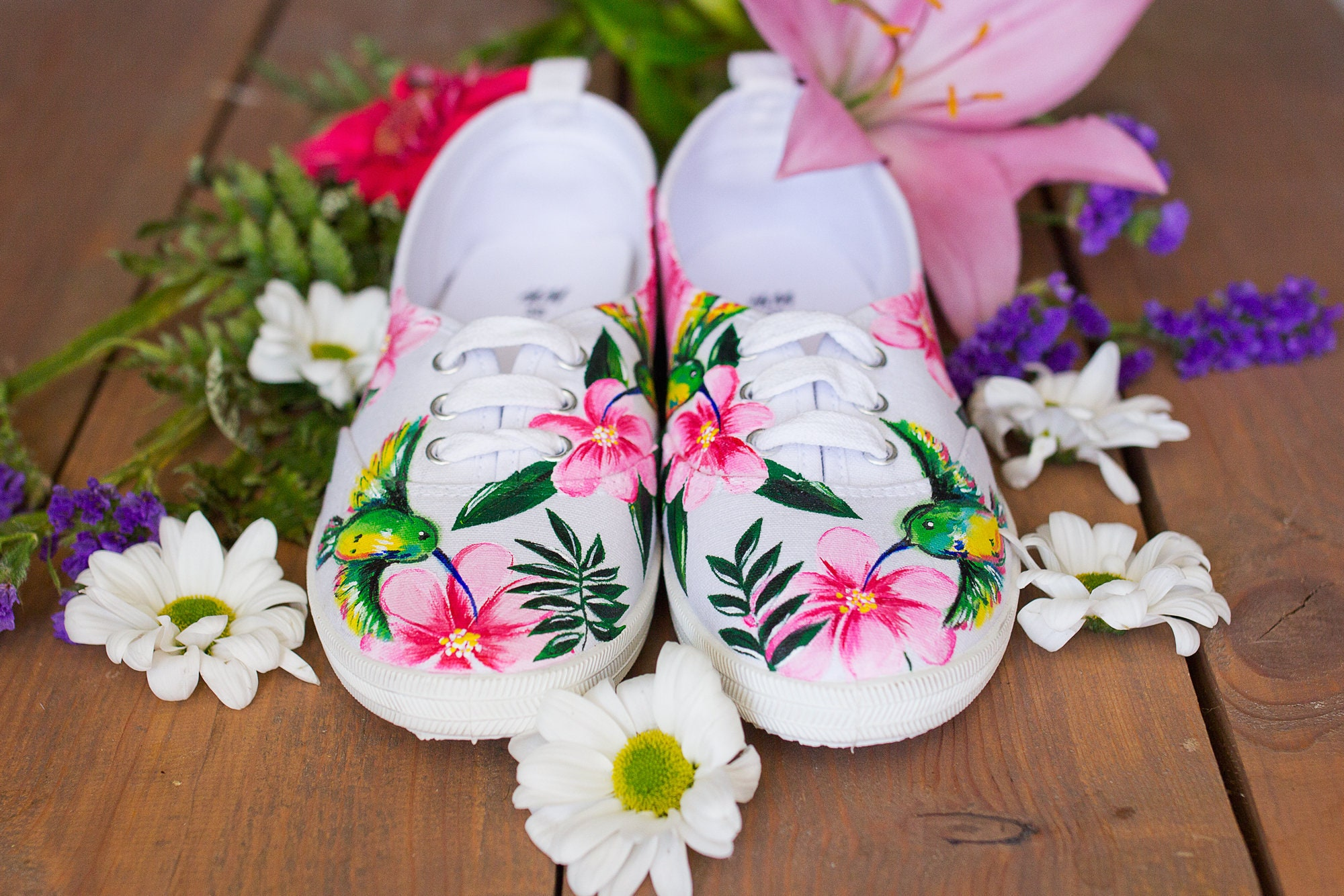Hand painted Mujer Floral Canvas Zapatos blanco blanco blanco Zapatillas with flowers  Tropical Summer 7ae1d3