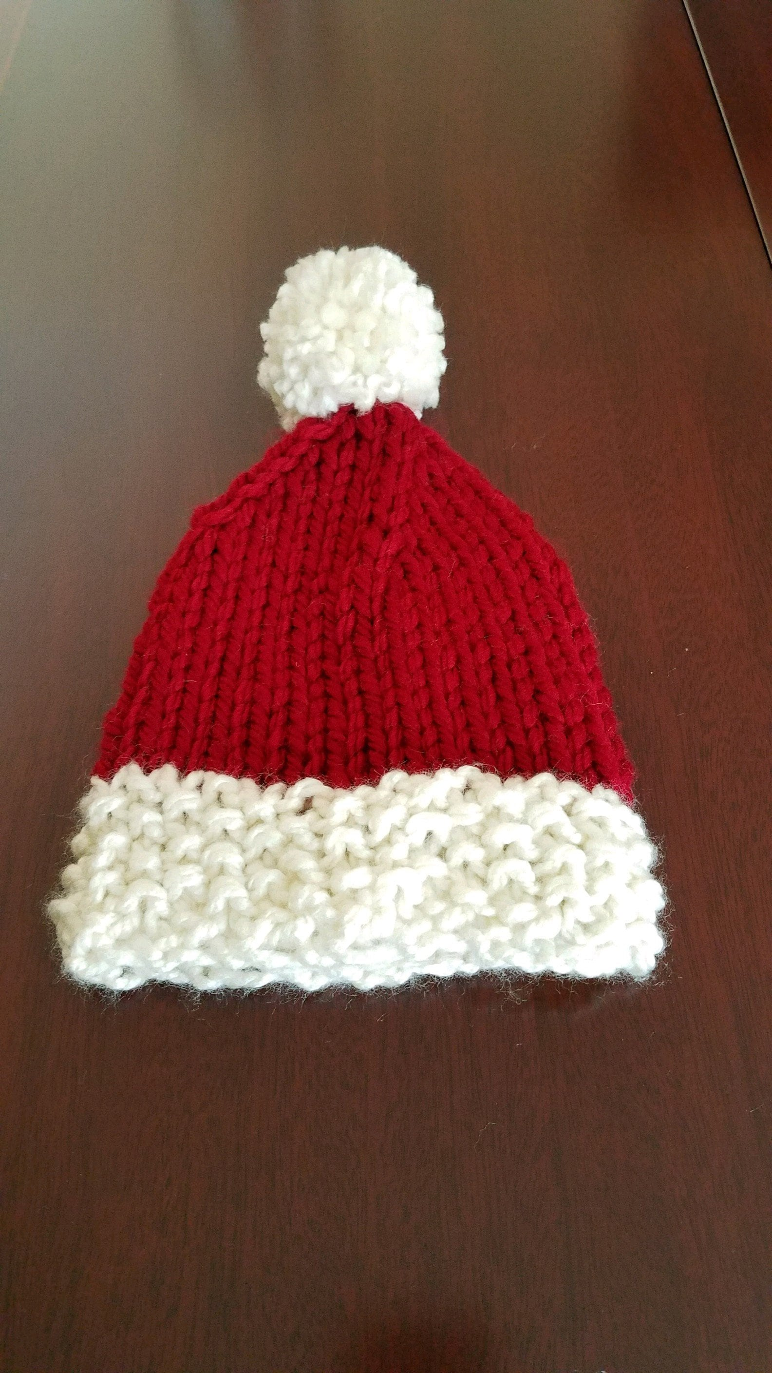 ed3f1035a11 Hand Knit Santa Christmas Holiday Hat for Baby Boy or Girl Sz