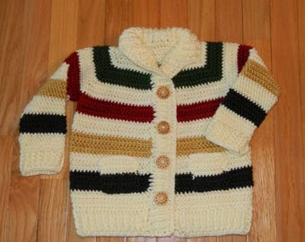 Hudson's Bay Hand Knit Striped Cardigan Sweater / Toddler Size 2T / Jacket / Coat